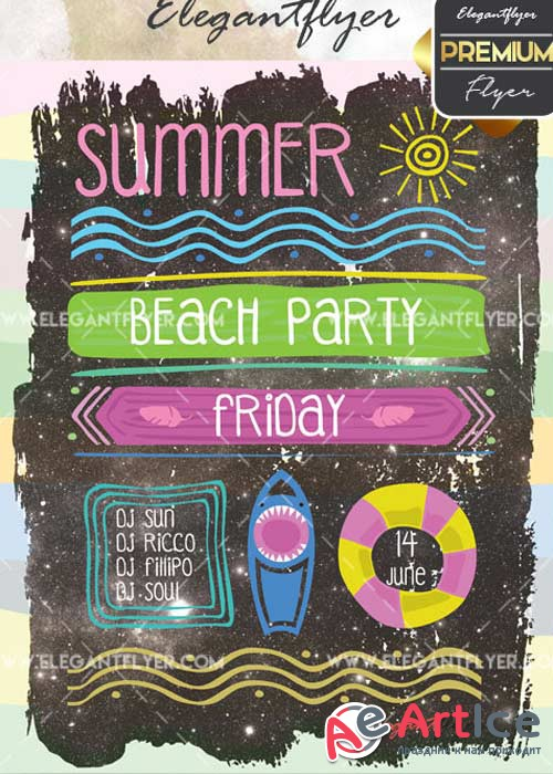 Summer Beach Party V29 Flyer PSD Template + Facebook Cover