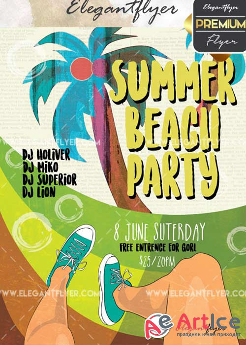 Summer Beach Party V32 Flyer PSD Template + Facebook Cover