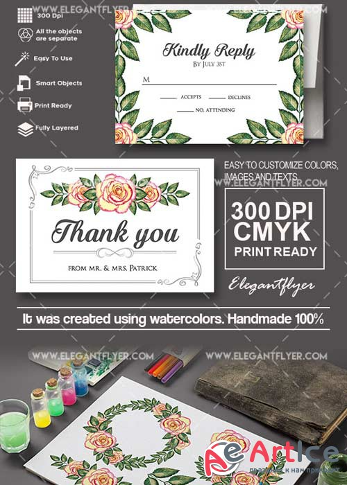 Wedding Invitation V03 Invitation PSD Template