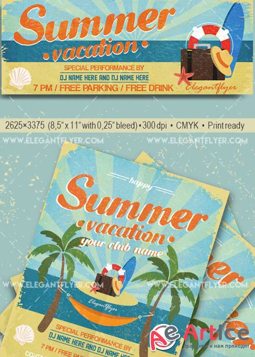 Summer Vacation V9 Flyer PSD Template + Facebook Cover