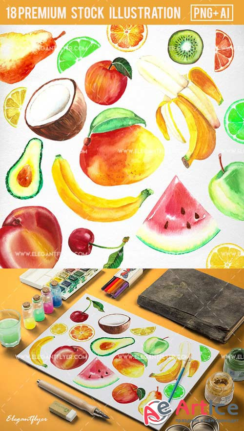 Watercolor Fruit V1 Premium Stock Illustration