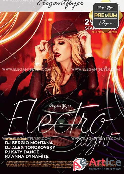 Electro Night V21 Flyer PSD Template + Facebook Cover