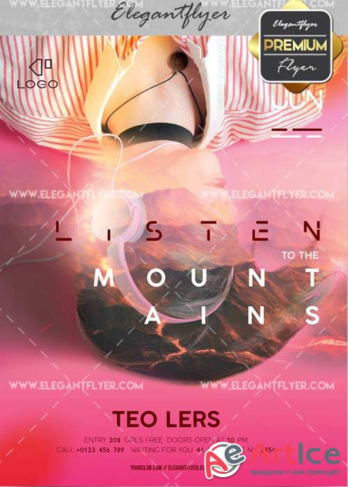 Listen to the Mountains V10 Flyer PSD Template + Facebook Cover