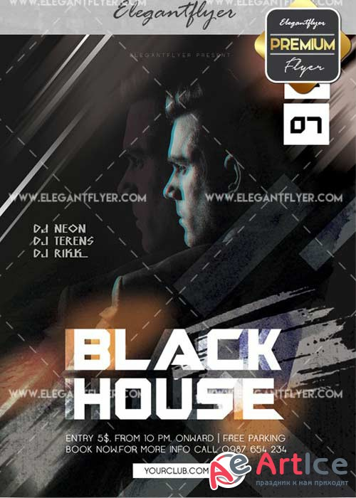 Black House V10 Flyer PSD Template + Facebook Cover