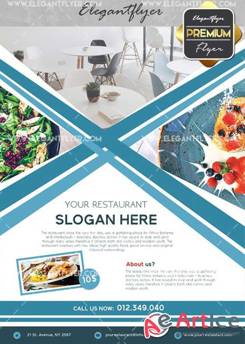 Restaurant Flyer V34 Flyer PSD Template + Facebook Cover