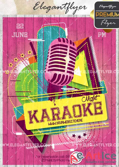 Karaoke Night V35 Flyer PSD Template + Facebook Cover