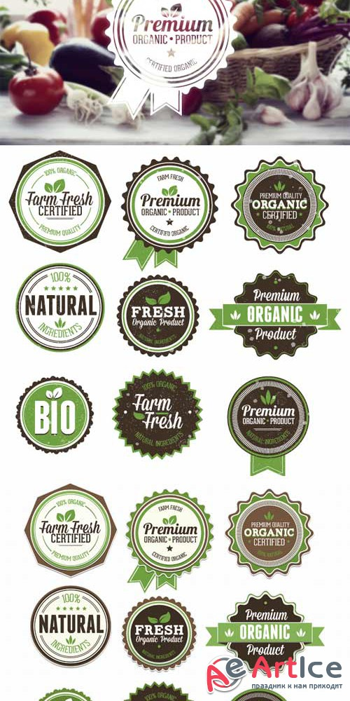 Superpremium badges bundle - Organic and Eco set 1