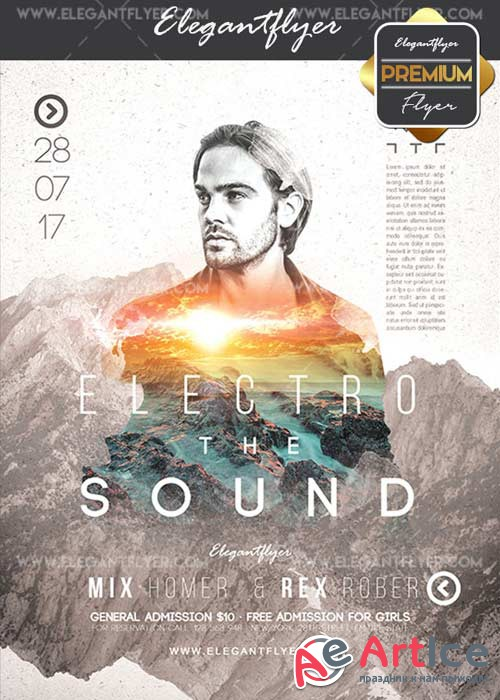 Electro Sound V32 Flyer PSD Template + Facebook Cover