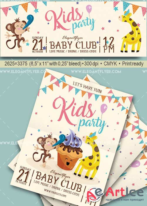 Kids Party V30 Flyer PSD Template + Facebook Cover