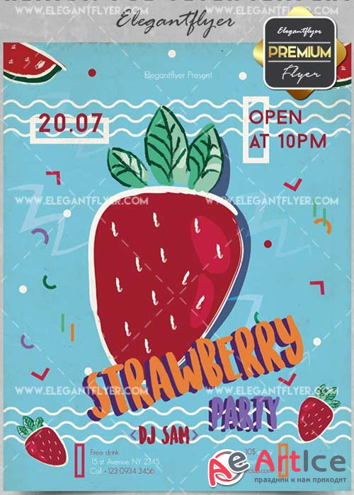 Strawberry Party V5 Flyer PSD Template + Facebook Cover