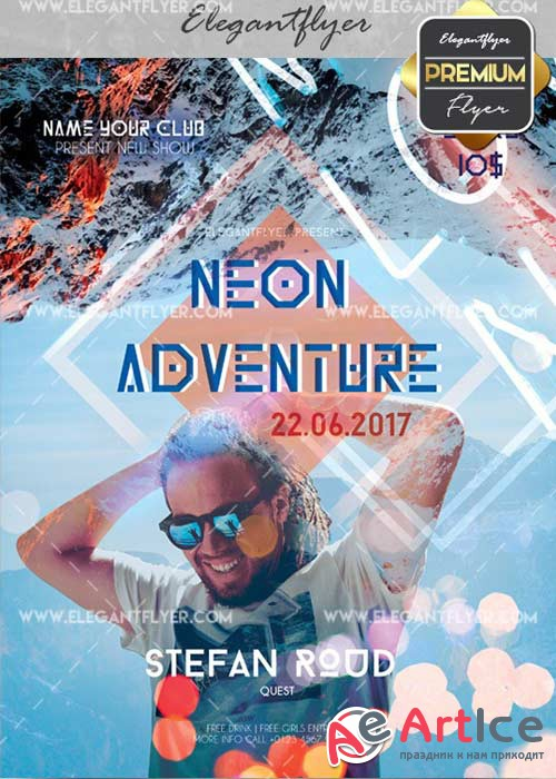 Neon Adventure V5 Flyer PSD Template + Facebook Cover