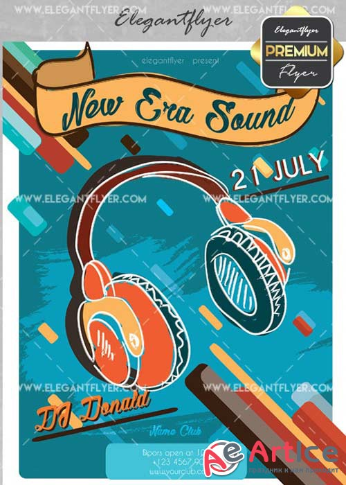 New Era Sound V2 Flyer PSD Template + Facebook Cover