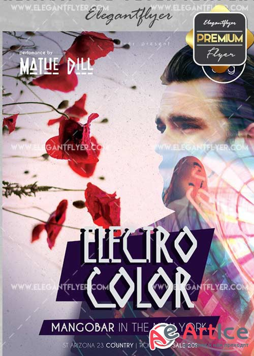 Electro Color v23 Flyer PSD Template + Facebook Cover