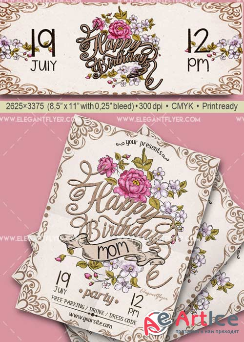 Happy Birthday Mom V25 Flyer PSD Template + Facebook Cover