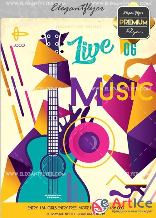 Live Music V15 Flyer PSD Template + Facebook Cover