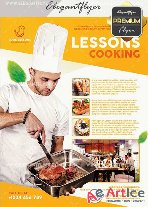 Cooking Lessons V10 Flyer PSD Template + Facebook Cover