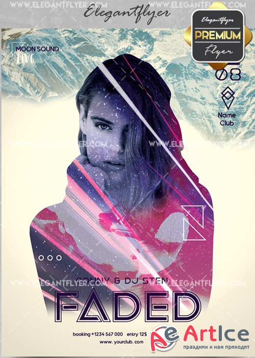 Faded V14 Flyer PSD Template + Facebook Cover