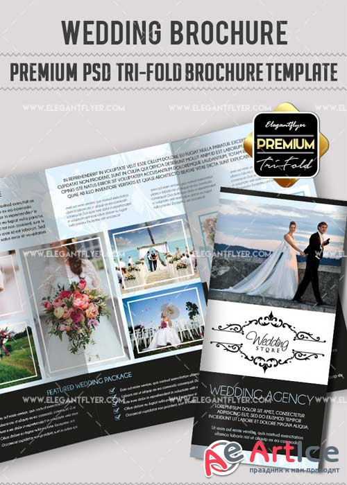 Wedding V36 Premium Tri-Fold PSD Brochure Template