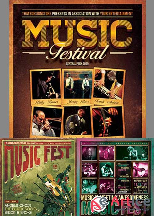 Music Festival 3in1 V4 Flyer Template