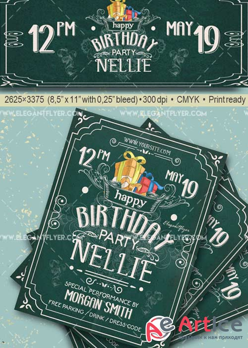 Birthday Party V6 Flyer PSD Template + Facebook Cover