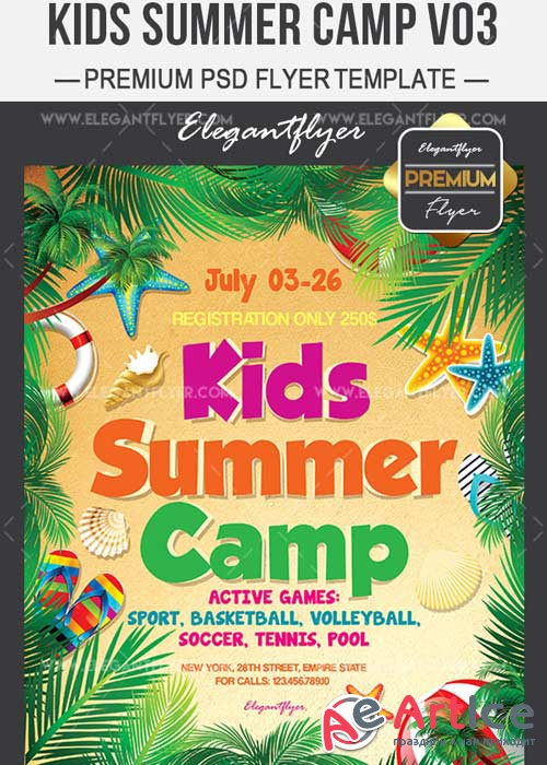 Kids Summer Camp V03 Flyer PSD Template + Facebook Cover