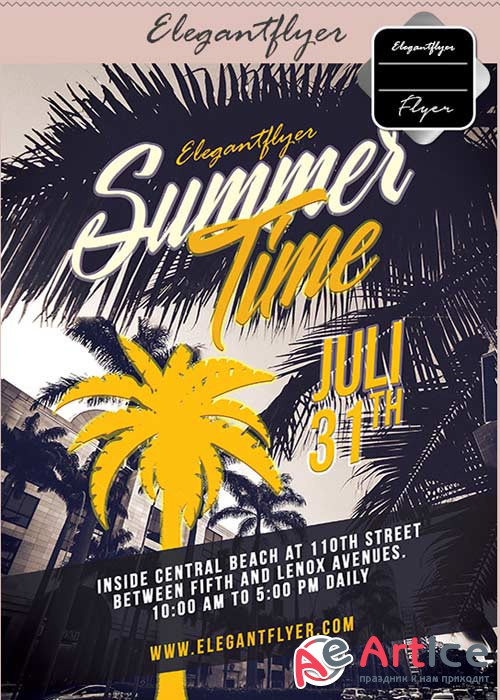 Summers Time part V42 Flyer PSD Template + Facebook Cover