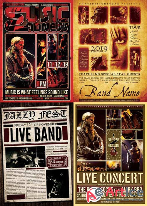 Live Concert Flyer Party 4in1 V3 Flyer Template