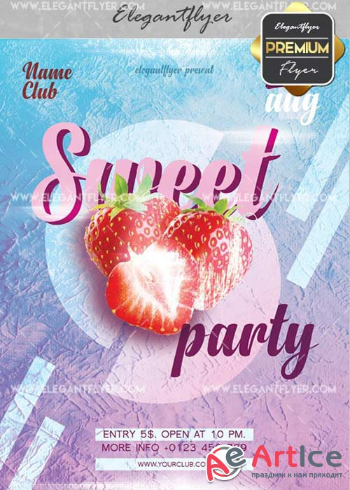 Sweet Party V15 Flyer PSD Template + Facebook Cover