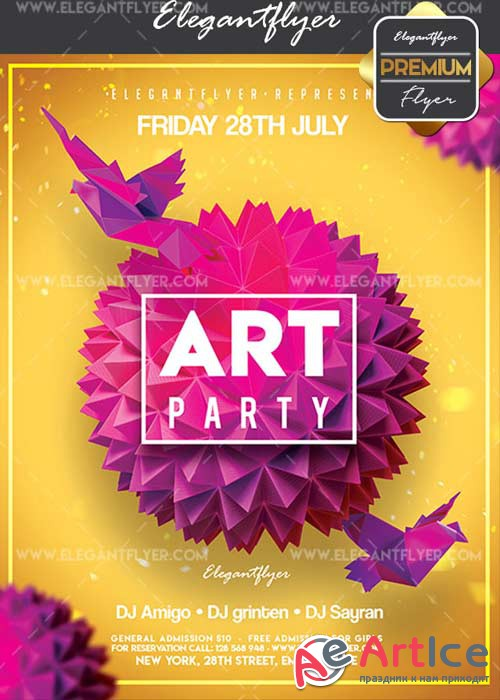 Art Party V10 Flyer PSD Template + Facebook Cover