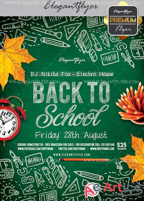 Back To School V23 Flyer PSD Template + Facebook Cover