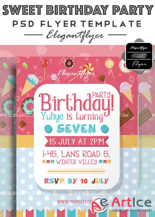 Sweet Birthday Party V5 Flyer PSD Template + Facebook Cover