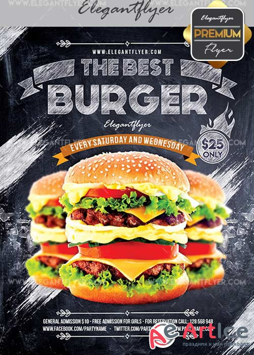Burger V11 Flyer PSD Template + Facebook Cover