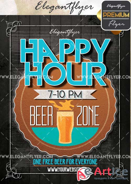 Happy Hour V44 Flyer PSD Template + Facebook Cover