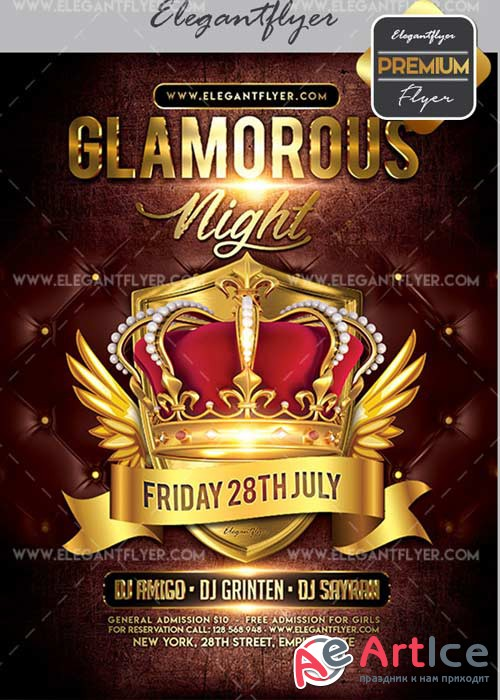 Glamorous Night V42 Flyer PSD Template + Facebook Cover