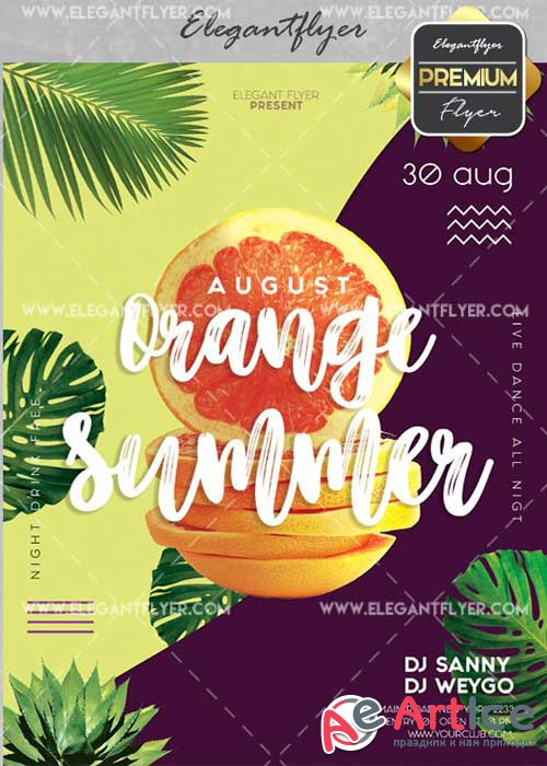 Orange Summer V2 Flyer PSD Template + Facebook Cover