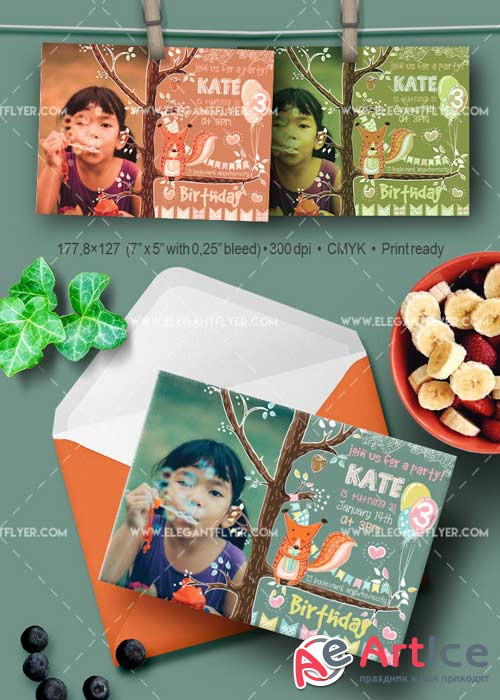 Birthday Party V03 Invitation PSD Template