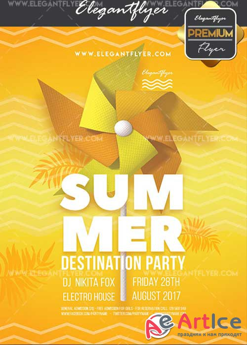 Summer Destination Party V1 Flyer PSD Template + Facebook Cover