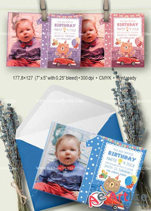 Birthday Party V06 Invitation PSD Template