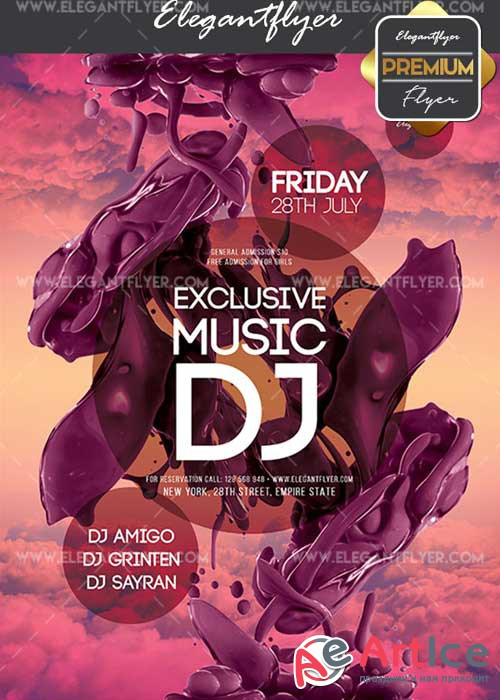 Exclusive Music DJ V7 Flyer PSD Template + Facebook Cover