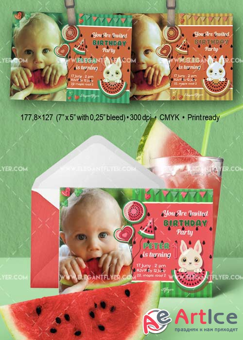 Watermelon Birthday Party V1 Invitation PSD Template