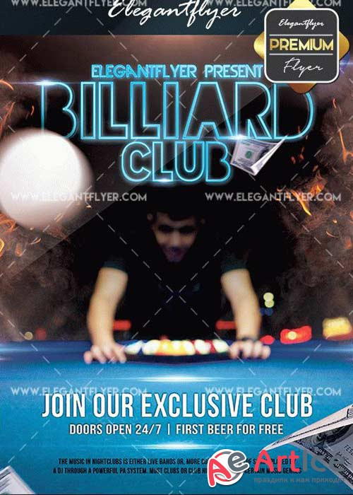 Billiard Club v5 Flyer PSD Template + Facebook Cover