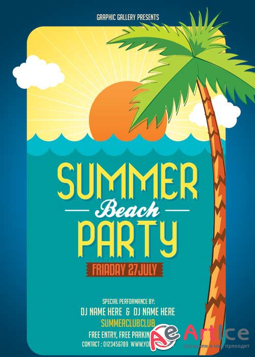 Summer Beach Party V28 Flyer PSD Template