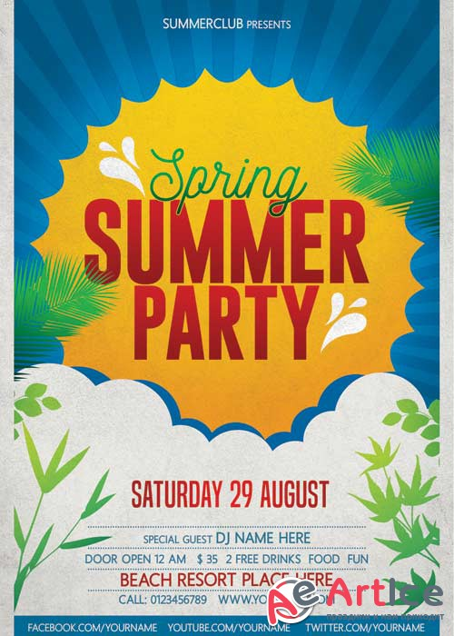 Spring Summer Party V11 Flyer PSD Template