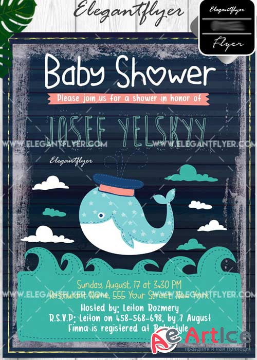 Baby Shower Flyer PSD V7 Template + Facebook Cover