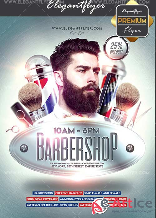 Barbershop V24 Flyer PSD Template + Facebook Cover
