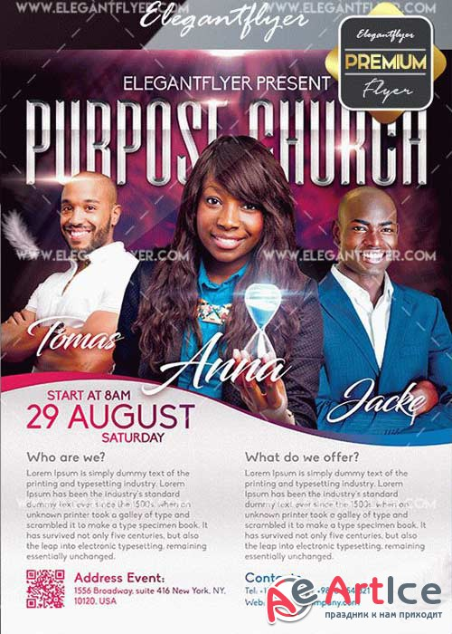 Purpose Church V25 Flyer PSD Template + Facebook Cover