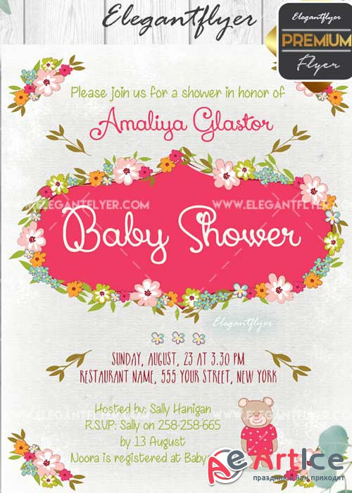 Baby Shower V17 Flyer PSD Template + Facebook Cover