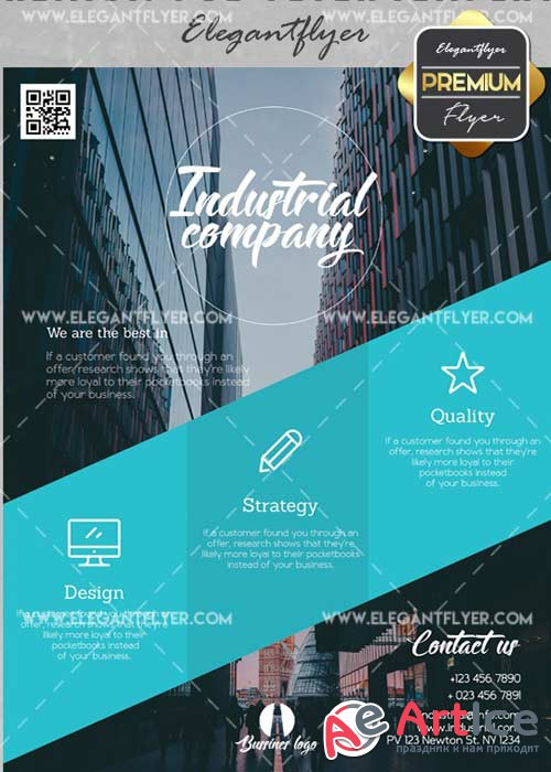 Industrial Company V21 Flyer PSD Template + Facebook Cover