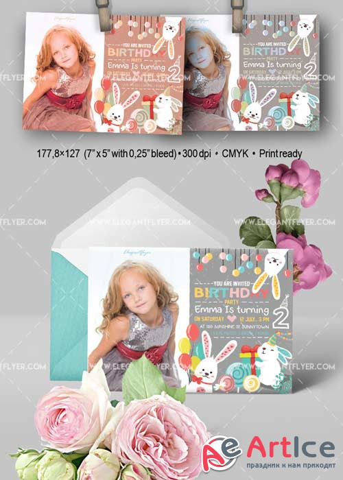 Birthday Party V11 Invitation PSD Template