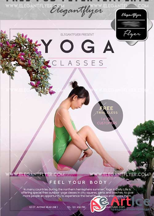 Yoga Flyer PSD V30 Template + Facebook Cover